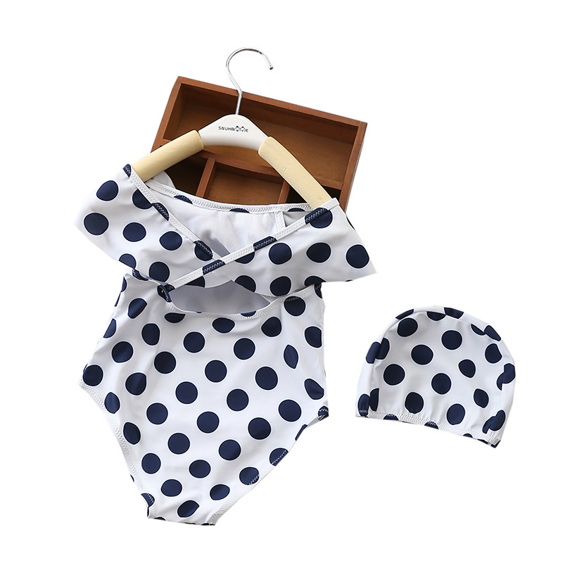 2018 New Style CHILDREN'S Swimwear One-piece Polka Dot Big Boy Hooded Swimwear Baby GIRL'S One-piece Swimming Suit