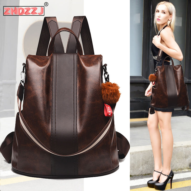 2019 New Women's Anti-Theft Backpack PU Leather Waterproof Female Shoulder Bag Large Capacity Travel Bag College Style Backpack