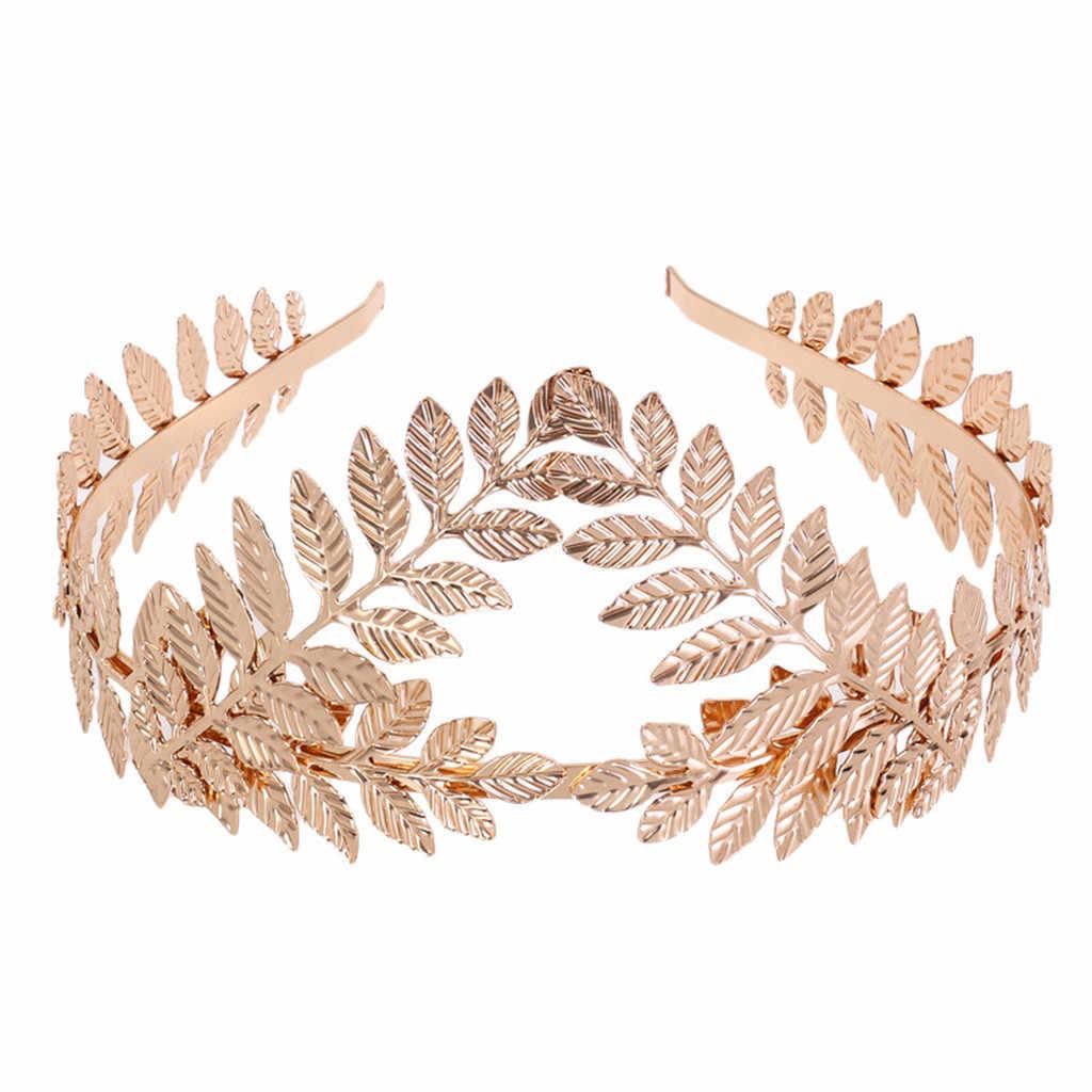 Duplo ouro folhas hairbands casamento headpiece acessórios de cabelo nupcial coroas de casamento tiaras ouro testa cabeça jóias