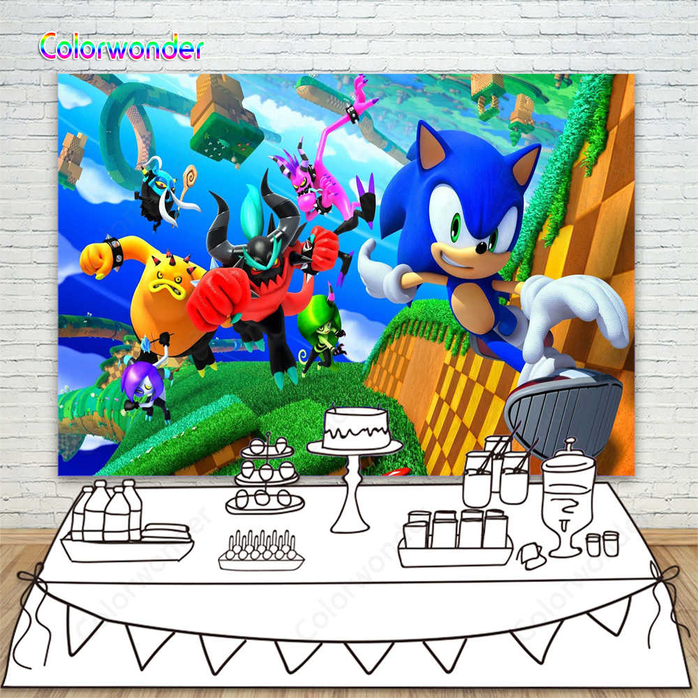 Sonic The Hedgehog Game World Character Backdrop For Photography Boys Kids 9th Birthday Game Party Cake Table Decor Backgrounds Aliexpress