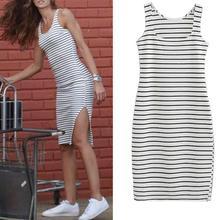 Mini Dress Stripe Fashion Sleeveless Summer Casual Women Print Vestidos-De-Verano O-Neck