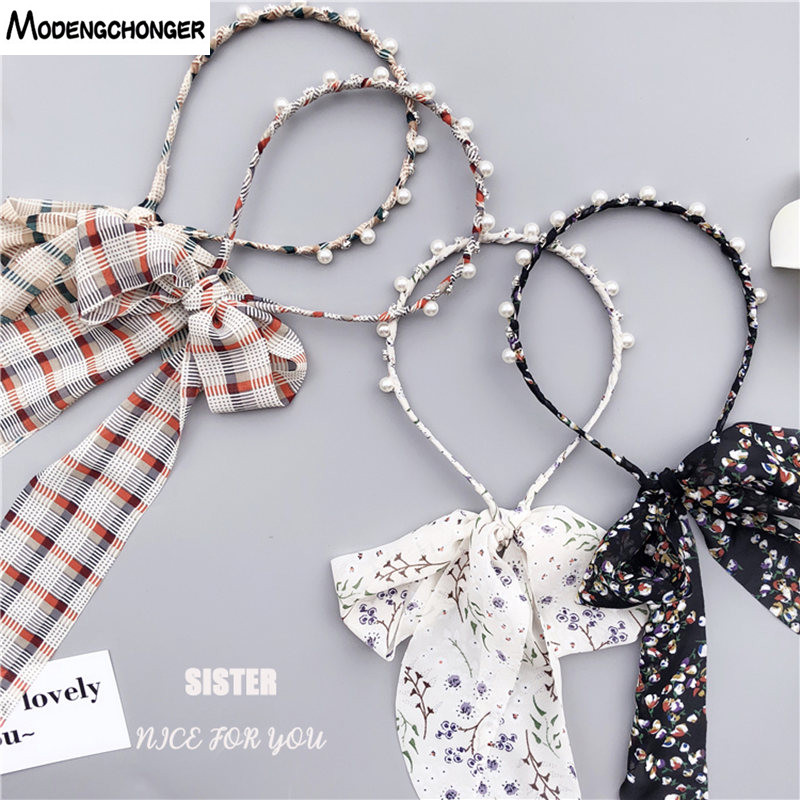For Women Hairband Printing Flower Hair Band Pearl Ribbon Headband Rhinestone Cloth Bow Hair Bezel Headwear Girl Hair Accessorie