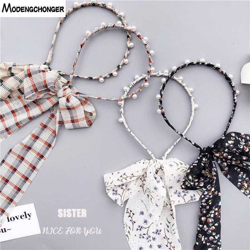For Women Hairband Printing Flower Hair Band Pearl Ribbon Headband Rhinestone Cloth Bow Hair Bezel   Headwear   Girl Hair Accessorie