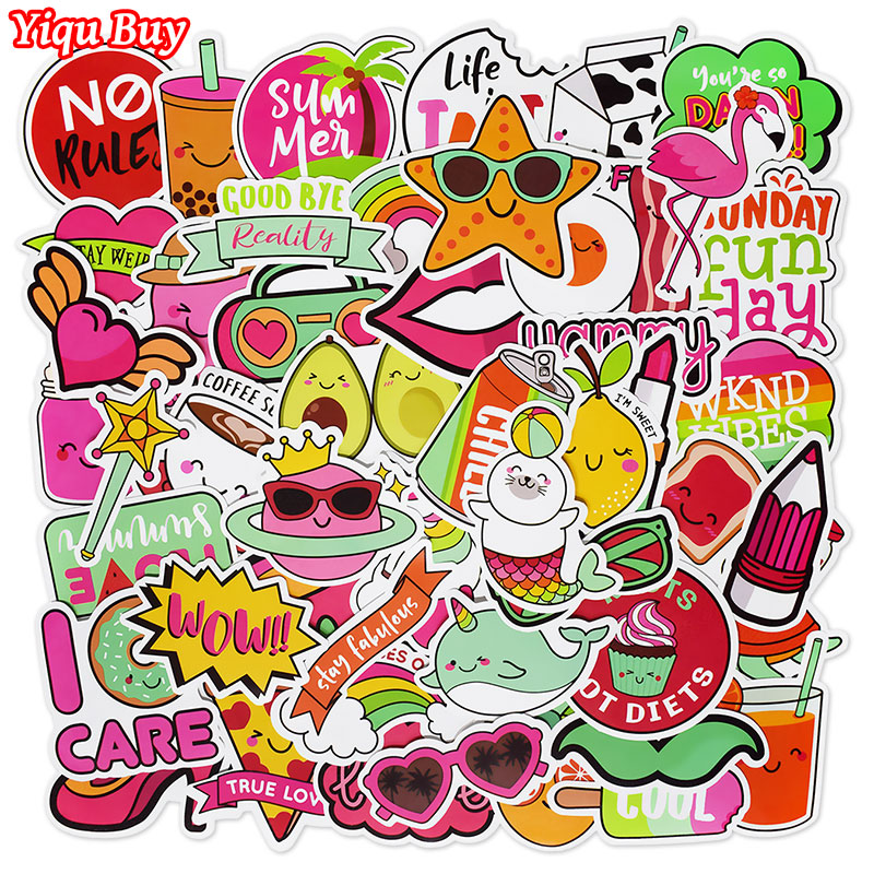 50Pcs Cute Style Small Fresh Graffiti Stickers For Bicycle Motorcycle Notebook Phone Skateboard Fuuny Waterproof Cartoon Sticker
