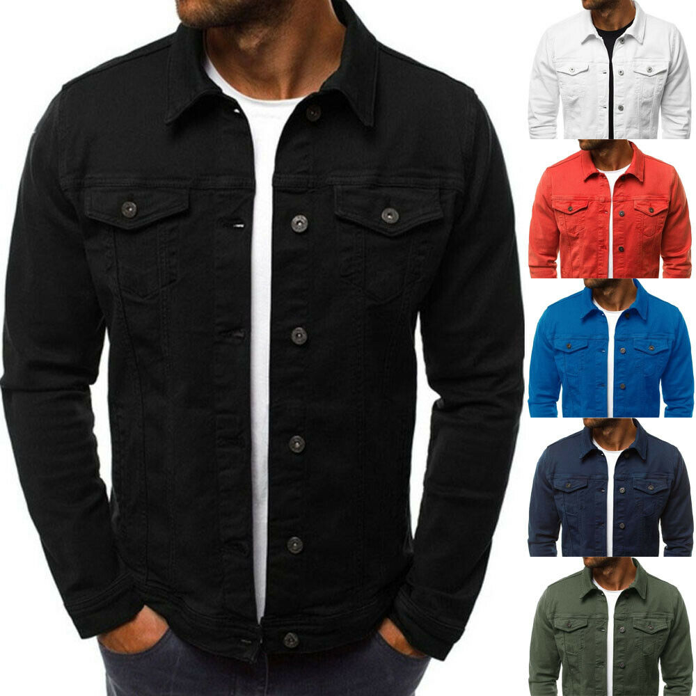 Hirigin New MENS Denim Coats Large Size Jean Jacket Classic Western Style Street Club Trucker Solid Denim Jacket Coat Outwear