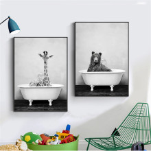 Nordic Painting Black and White Panda Animal Wash In Bath Tub Wall Art Wall Pictures for Living Room Bathroom Washroom Decor