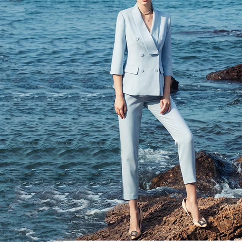 Women's Suit Sky Blue Women's Double-breasted Suit 2 Sets (jacket + Pants) Women's Casual Professional Wear Custom Made