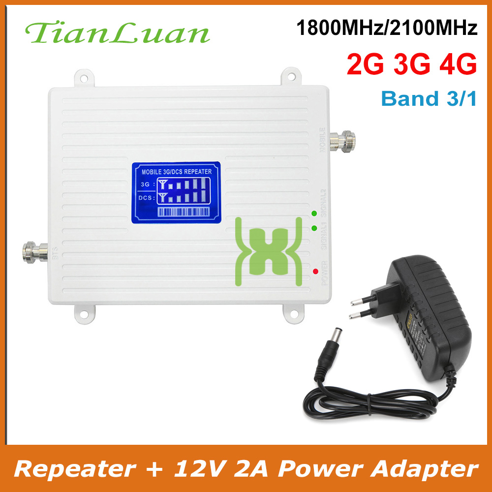 TianLuan Mobile Phone 3G 4G LTE Signal Booster DCS W-CDMA UMTS HSPA Cellular 1800MHz 2100MHz Signal Repeater Amplifier Band 1/3