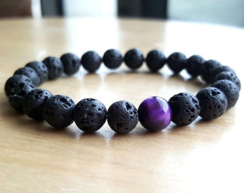 Lava Rock Beaded-Bracelet Beads Jewellery Eye-Mala Gifts Tigers Energy Yoga Charm Women