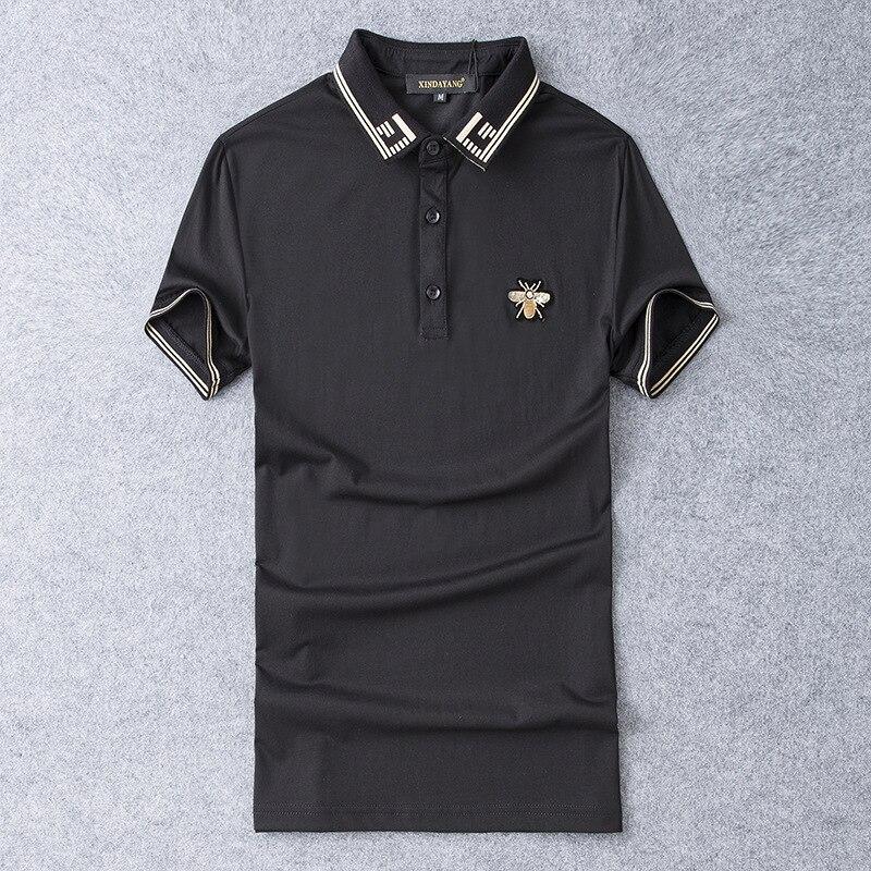 New 2019 Men Embroidered Bee Striped Polo Shirts Shirt Hip Hop Skateboard Mercerized cotton Polo Top Tee Plug size S-5XL #K04