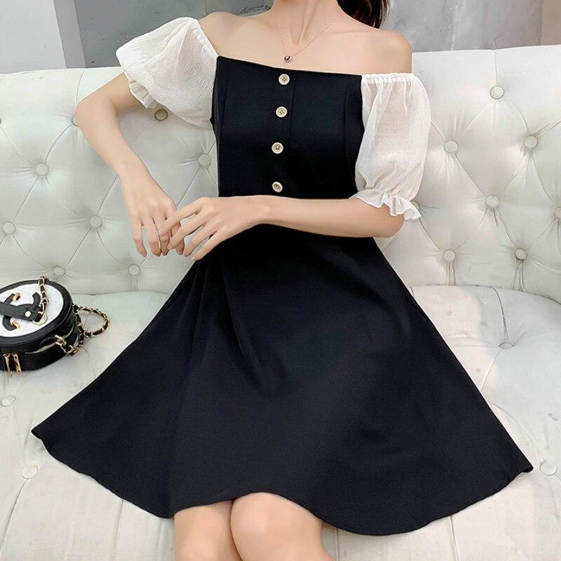 2019 Korean Popular Dress Women 39 s 2019 Autumn New Wild Temperament Show A Word Collar High Waist A Line Dresses in Dresses from Women 39 s Clothing