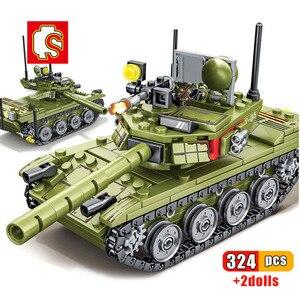 SEMBO 324pcs Military Series main battle Tank ww2 Building Blocks Weapon Tank Army City Enlighten Bricks Toys For Children Gift
