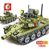 SEMBO-Juego de bloques de construcción de tanque de batalla para niños, 324 Uds., tanque de batalla principal, ww2, armas, figuras, ciudad del ejército, iluminar, juguetes para niños, regalo
