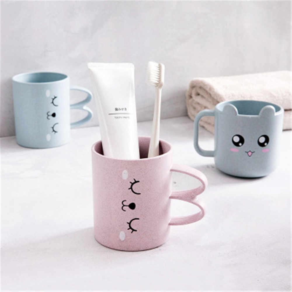 Paja de trigo expresión de dibujos animados enjuague bucal taza creativa niños cepillado taza de plástico de cepillo de dientes taza