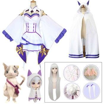 цена на Full set Emilia Dress Re Zero Cosplay Sets Wig Women Cosplay Dress Emilia Cosplay costume Anime Cosplay Party Halloween Party