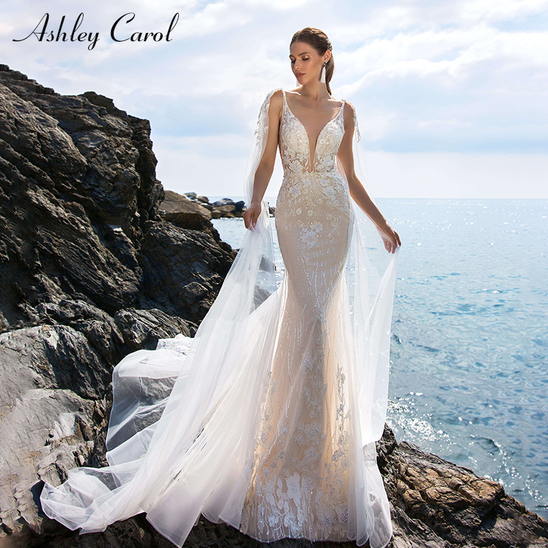 Ashley Carol Sexy Deep V-neckline Backless Mermaid Wedding Dresses 2019 Spaghetti Straps Bridal Dress Romantic Wedding Gowns