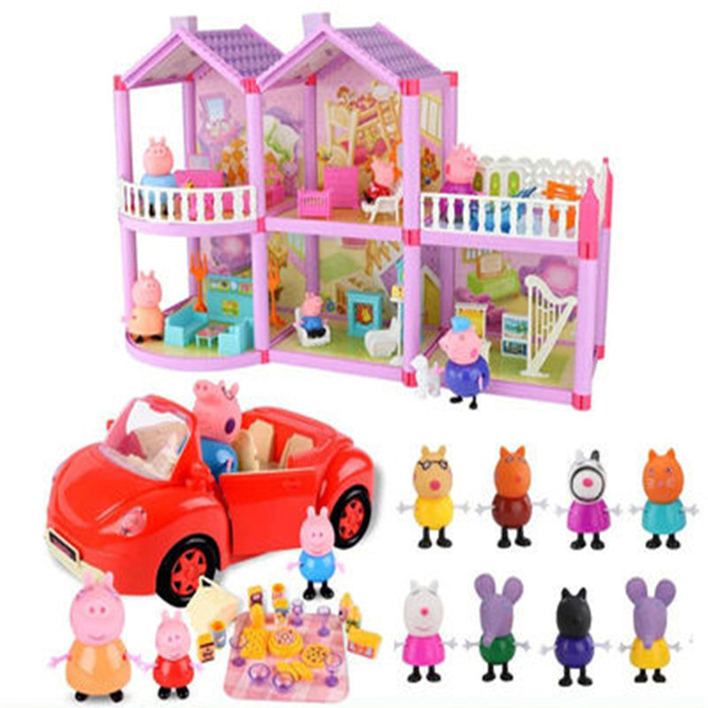 Peppa Pig Series Educational Kids Toys Fashion Luxury Villa Sports Car Family Full Roles Doll Action Figure Model Children Gifts