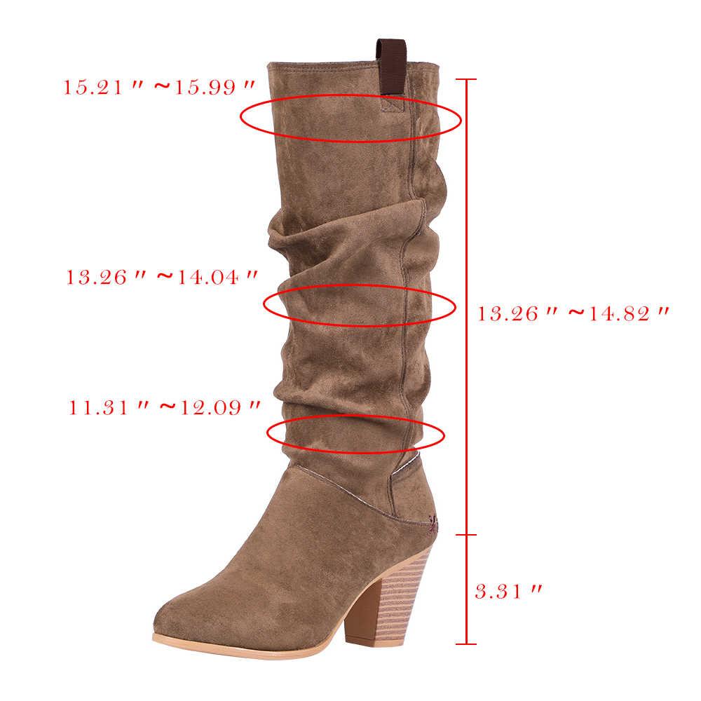 Adisputent ผู้หญิงแฟชั่นบู๊ทส์ลูกวัวกลางรองเท้า SLIP ON LACE-up รองเท้าส้นสูงสุภาพสตรีสบายๆรองเท้าสำหรับฤดูหนาว