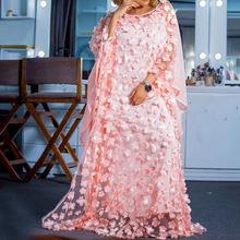 Розового цвета с аппликацией женское длинное платье в африканском