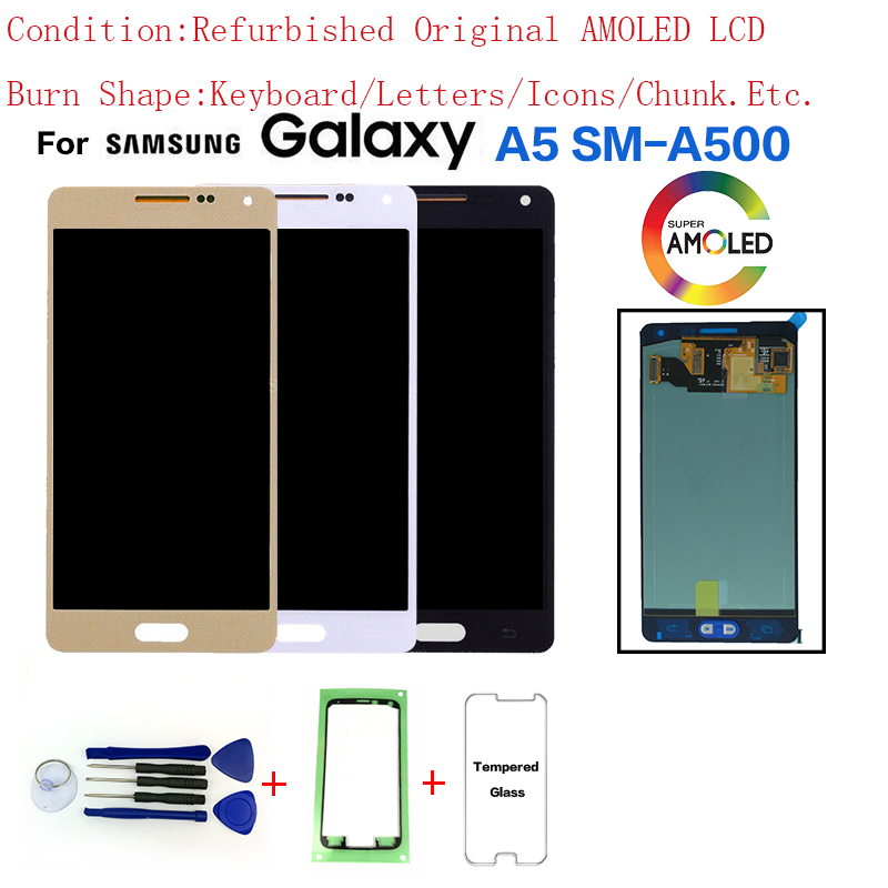 For <font><b>Samsung</b></font> Galaxy A5 A500 SM-A500 LCD Display Screen replacement have burn shadow for <font><b>Samsung</b></font> A5 A500G A5000 display lcd module image