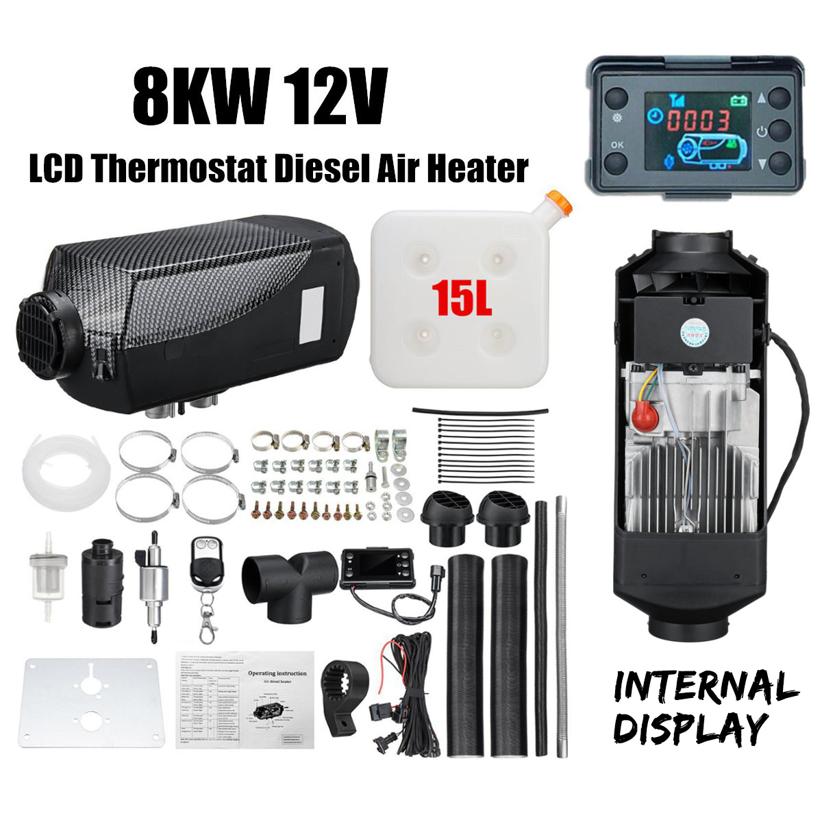 Car-Heater Boat Silencer Remote-Control 8kw-Air-Diesel 8000W 12V New For Bus With