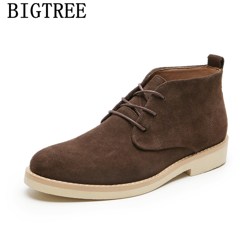 Genuine Leather Chukka Boots Men Shoes