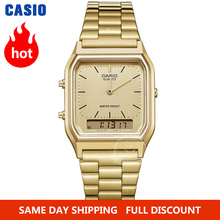 Casio นาฬิกาผู้ชายนาฬิกาทองยอดนิยมแบรนด์หรูจอแสดงผลแบบ Dual กันน้ำควอตซ์ดิจิตอลผู้ชายนาฬิกากีฬาทหารนาฬิกาข้อมือ relogio masculino reloj hombre erkek kol saati montre homme zegarek meski AQ 230
