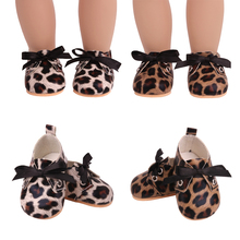 18 inch Girls doll shoes Fashion leopard print bow PU American newborn shoe Baby toys fit 43 cm baby dolls s233