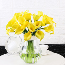 18 Pieces Quality Flower Home Decor Artificial Flowers Calla Lily PU Simulation Bunch Fake Wedding Holding