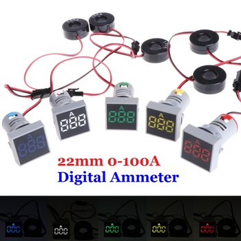 цена на 22MM 0-100A Digital Ammeter Current Meter Indicator Led Lamp Square Signal Light Red Yellow Green White Blue Digital with CT