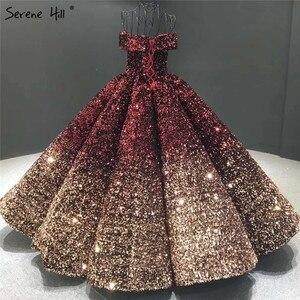 Image 2 - שינוי הדרגתי שחור אדום חתונת שמלות 2020 נצנצים שרוולים יוקרה כלה שמלות Serene היל HA2305 תפור לפי מידה