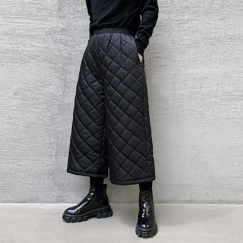 Male Street Fashion Hip Hop Wide Leg Trousers Diamond Harem Pant Men Winter Cotton Padded Thick Japan Straight Kimono Pant