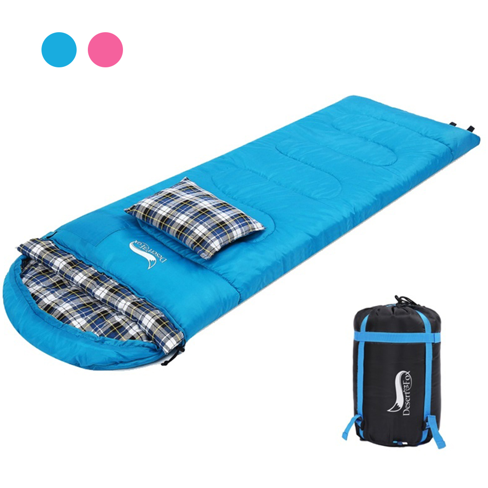 Desert&Fox Soft Flannel Sleeping Bags with Pillow for Adult Kids Winter Sleeping Bag