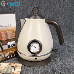 220V Electric Kettle Retro Style Home Pot 304 Stainless Steel Thermometer Coffee Pot With Water Temperature Meter 1.7L