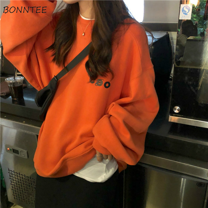 Hoodies Women O-Neck Simple Korean Style Thicker Warm Loose Long Sleeve Pullover Students Harajuku Streetwear Womens Casual Chic