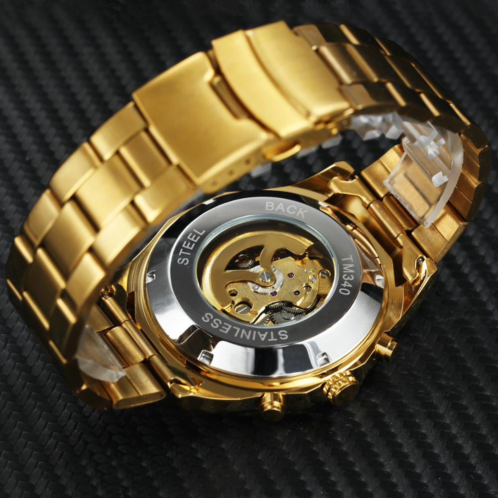 WINNER Official Golden Automatic Watch Men Steel Strap Skeleton Mechanical Skull Watches Top Brand Luxury Dropshipping Wholesale 4