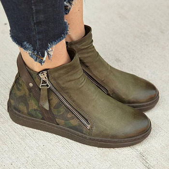 New Camouflage Couple Single Boots Autumn Winter Low Top Buckle Zipper Ankle Boots for Women Plus Size 35-43 Dropshiping