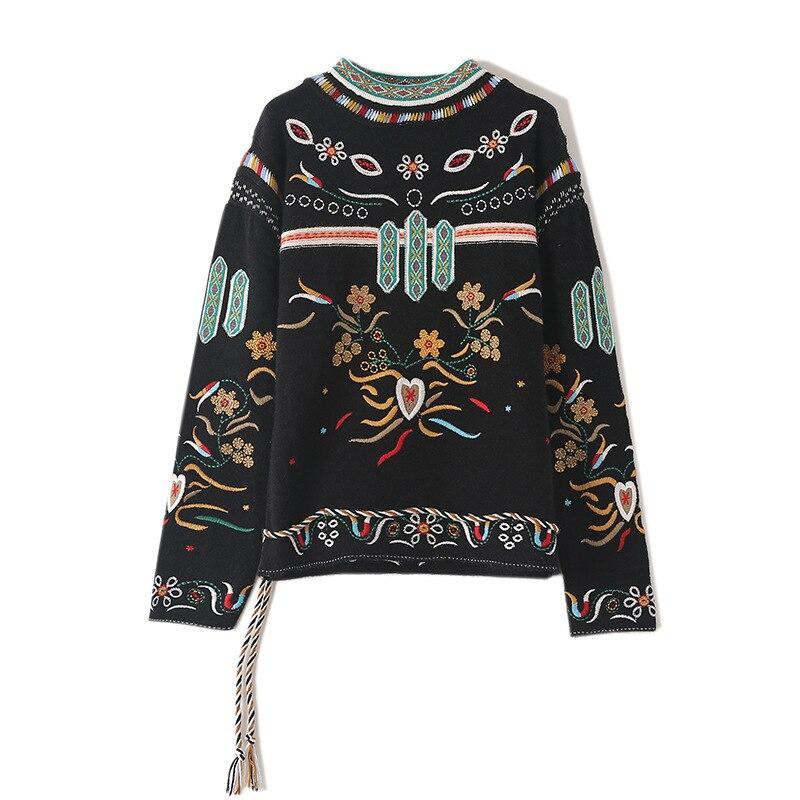 Femmes nouveau Vintage chaud chandails col rond à manches longues Jacquard pulls hiver automne tricoté rétro chaîne hauts amples Blusas