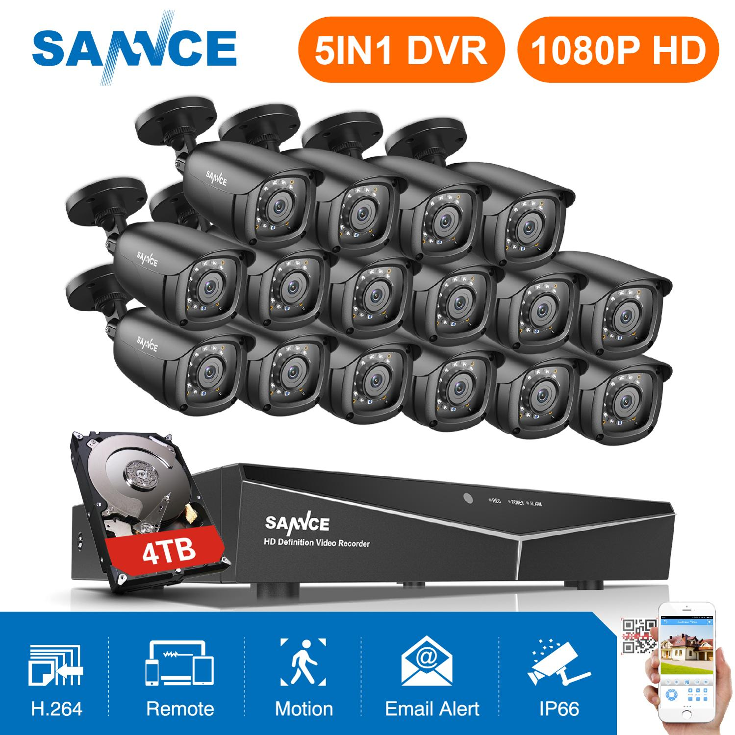 SANNCE 16CH HD 108P CCTV System 1080P HDMI Output CCTV DVR 16pcs 2MP Security Cameras IR Night Waterproof Surveillance Kit
