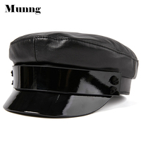 Munng Women 100% Sheepskin Leather Army Cap Military Hat Beret Newsboy Hat
