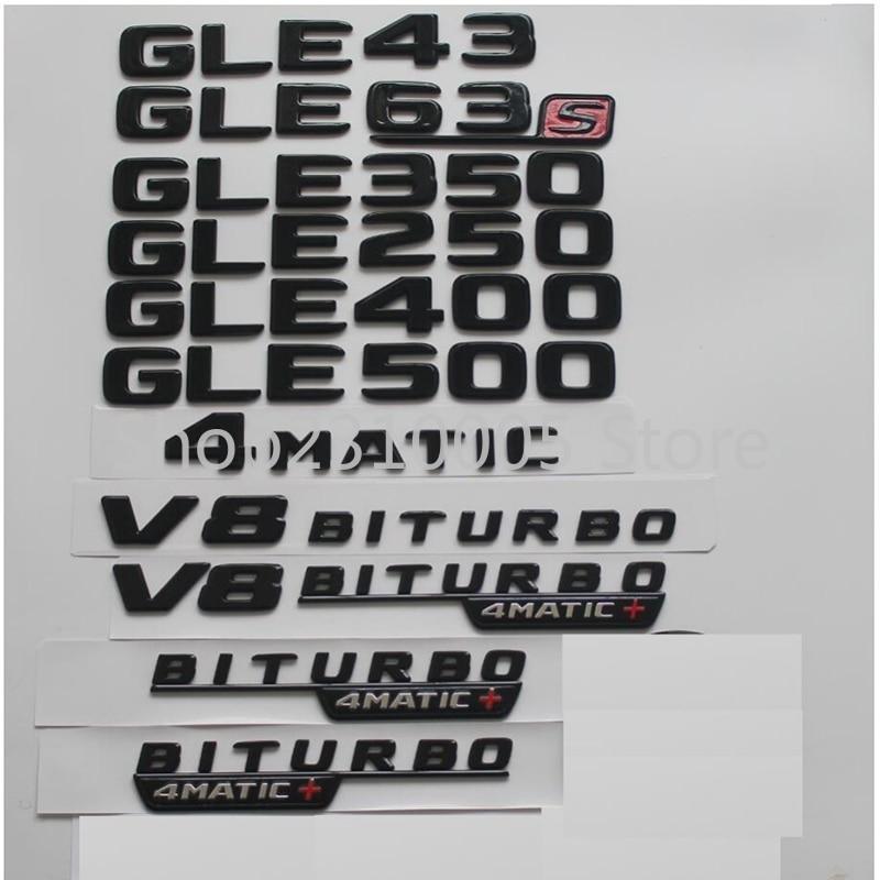 For Mercedes Benz W166 C292 GLE43 GLE63 GLE63s GLE450 AMG GLE350 GLE400 GLE500 4MATIC Trunk Emblems Rear Star Badges Gloss Black