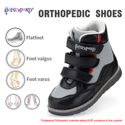 PRINCE PARD Orthopedic Shoes for Children High Ankle kids Sport Shoes with Arch Support Corrective Leather Sneakers for boys