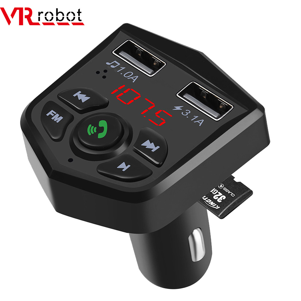 AGPtek Wireless Car Kit with 3.5mm Audio Port TF Card Slot Bluetooth FM Transmitter and MP3 Player In-Car FM Adapter Car Kit with USB Car Charging for Smartphone Black