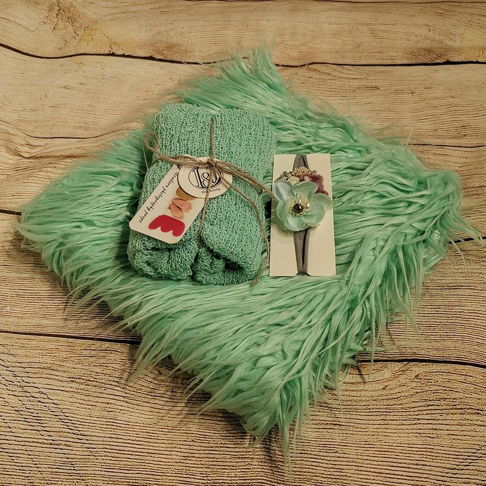 Don&Judy Newborn 3pcs/Set Blanket Fur + Stretch Knit Wrap + Headband Newborn Photography Prop Background Photo Shoot Accessories