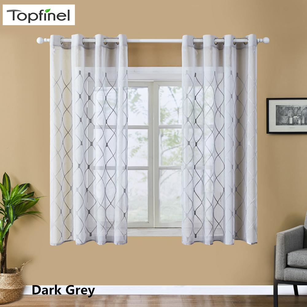 US $3.67 54% OFF|Topfinel Geometric Sheer Curtains Modern Short Window  Curtains Drape for Kitchen Living Room Bedroom Tulle Voile Cafe Curtains-in  ...