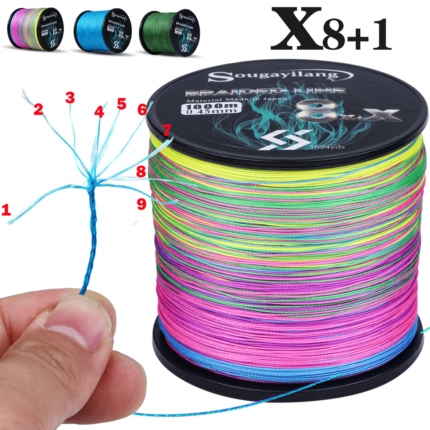 Fishing-Line Multifilament 300M Strong PE 9-Strands Sougayilang Abrasion-Resistance New