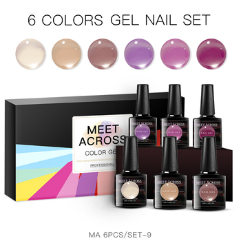 MEET ACROSS 6Pcs/set Translucent Gel Nail Polish High Quality Purple Jelly Gel Soak Off Nail UV Gel Long Lasting Varnish 1