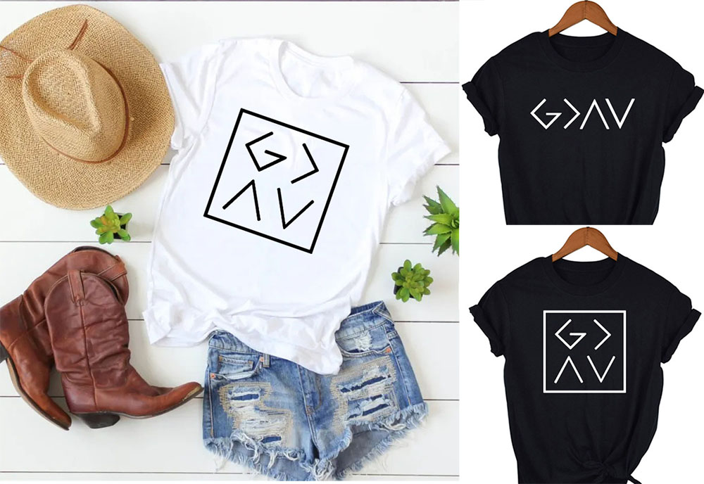 <font><b>God</b></font> Is Greater Than The High and Lows Letters Female T-<font><b>shirt</b></font> with Inscriptions Aesthetic Women Summer Short Sleeve Tee Camisas image