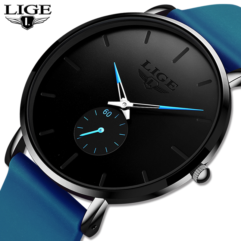 2020 LIGE New Quartz Watches For Men Leather Strap Male Sport Wristwatch Top Luxury Brand Business Clock Men Watch Reloj Hombres