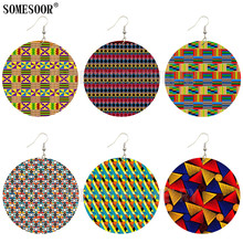 Jewelry Drop-Earrings Bohemia African Wooden Pattern-Design Women SOMESOOR for Gifts